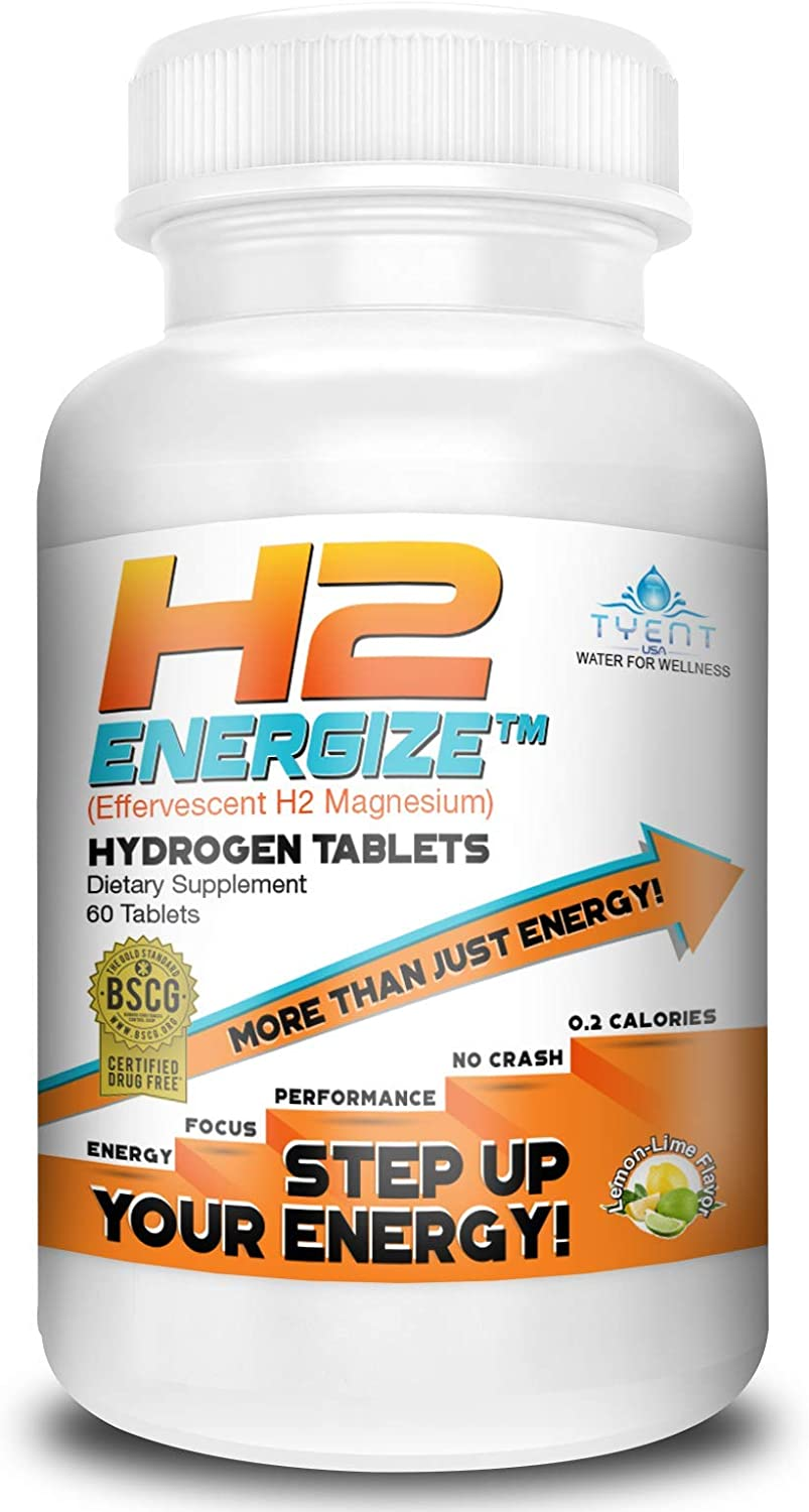 All New Tyent H2 Energize Hydrogen Tablets - Molecular Hydrogen Water Supplement - Powerful Antioxidant - Increased Energy and Focus - Better Performance - Faster Workout Recovery - 60 Tablets