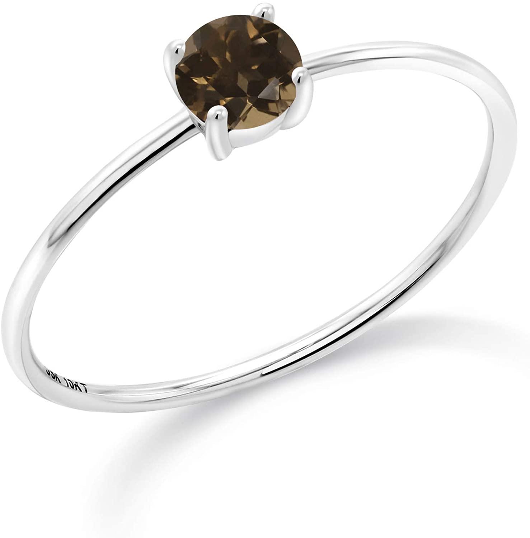 Gem Stone King 10K White Gold Engagement Ring 0.26 Ct Round Brown Smoky Quartz