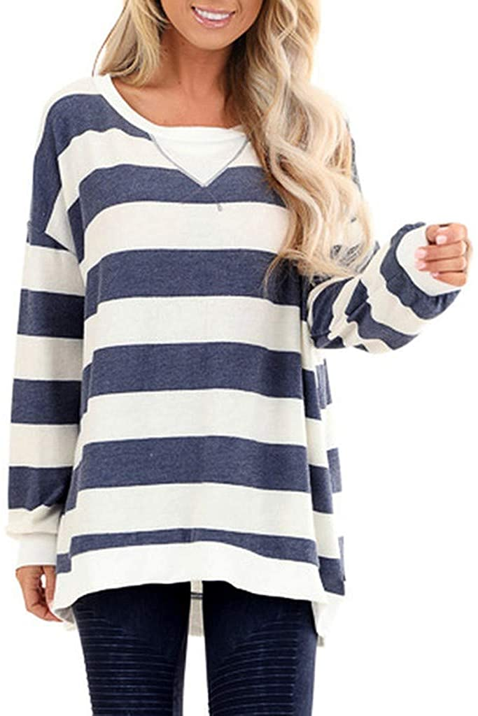 Mikey Store Womens Color Block Large Striped Sweatshirt Crewneck Long Sleeve Loose Pullover Tops