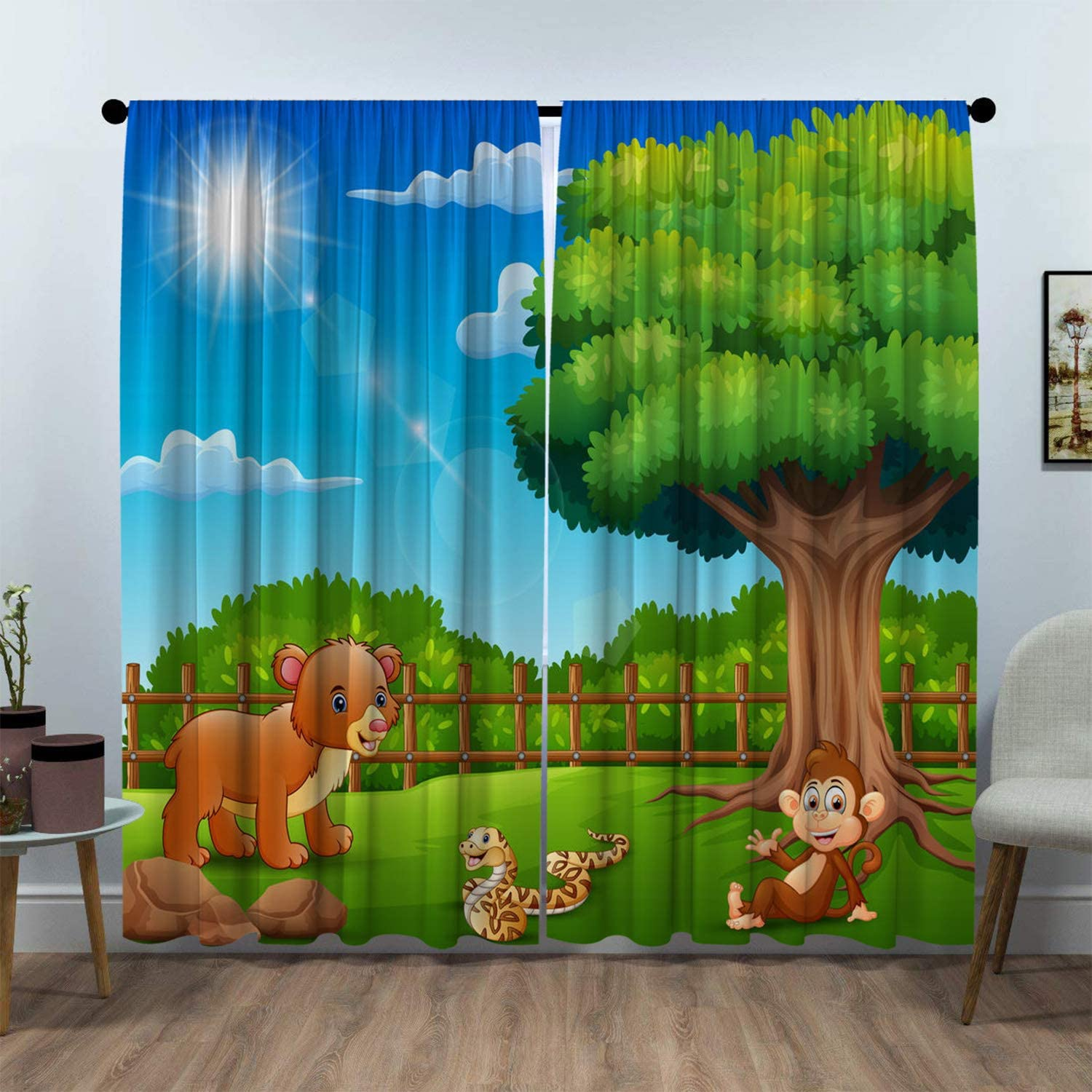 SeptSonne Kids Room Window Curtain Panels Drapes Animal Vector is to Enjoy Nature by Cage draps for Kids Room Artwork Customized Curtains 72