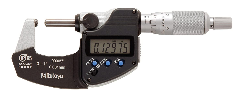 Mitutoyo 395-371 Digital Spherical Face Micrometer, Inch/Metric, Ratchet Stop, Spherical Anvil/Spindle, 0-1