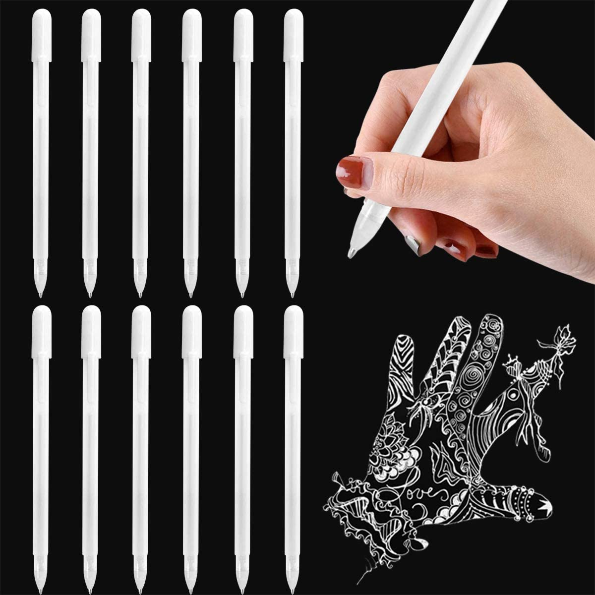 12 Pieces White Gel Ink Pens, Fine Point Marker Pens Smooth Writing for Drawing Highlight Sketching Illustration Paintings