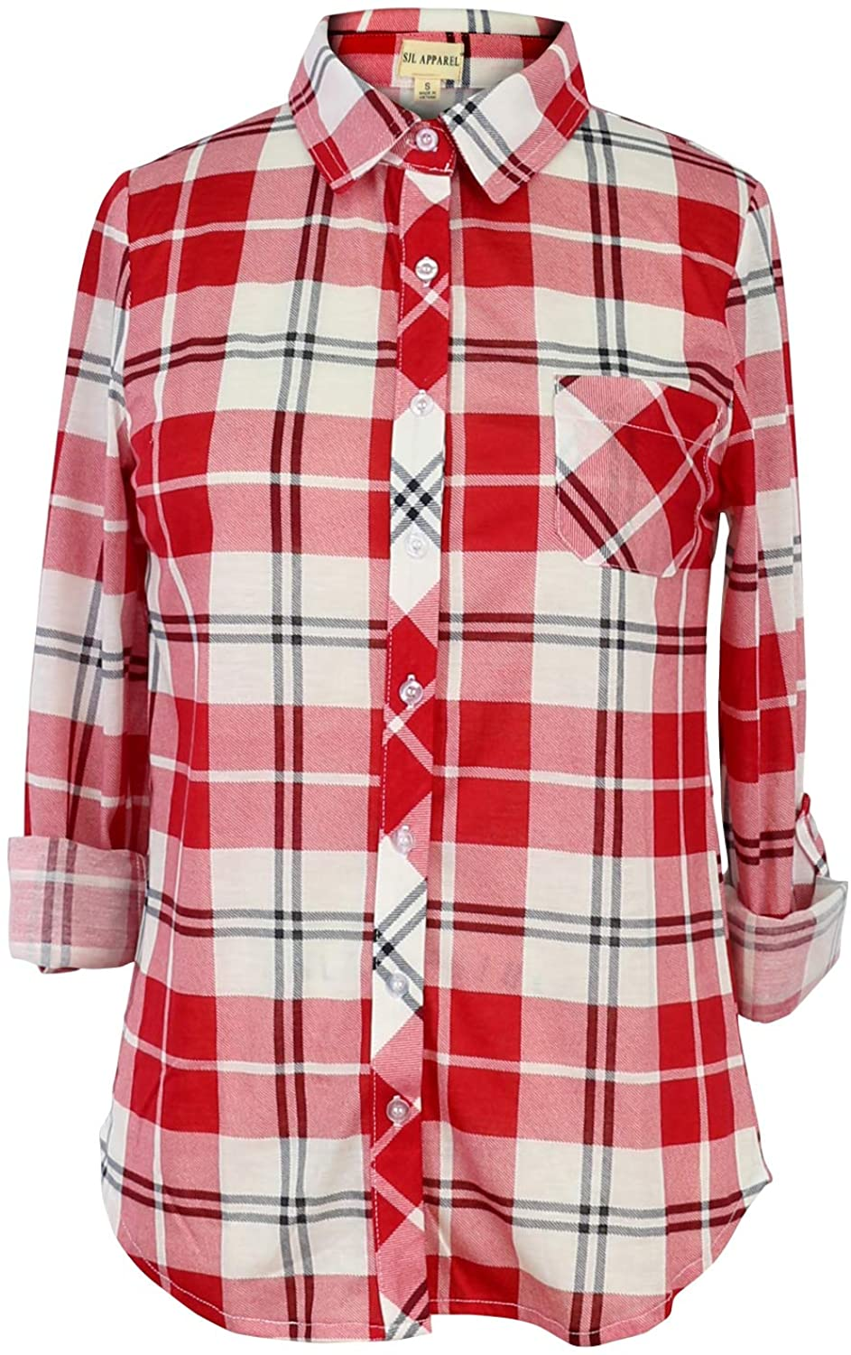 Womens Flannels Long/Roll Up Sleeve Plaid Shirts Check Top