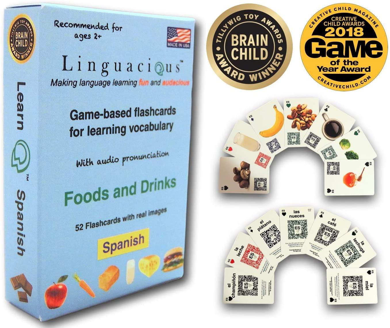 Linguacious Award-Winning Spanish Foods and Drinks Flashcard Game - with Audio!