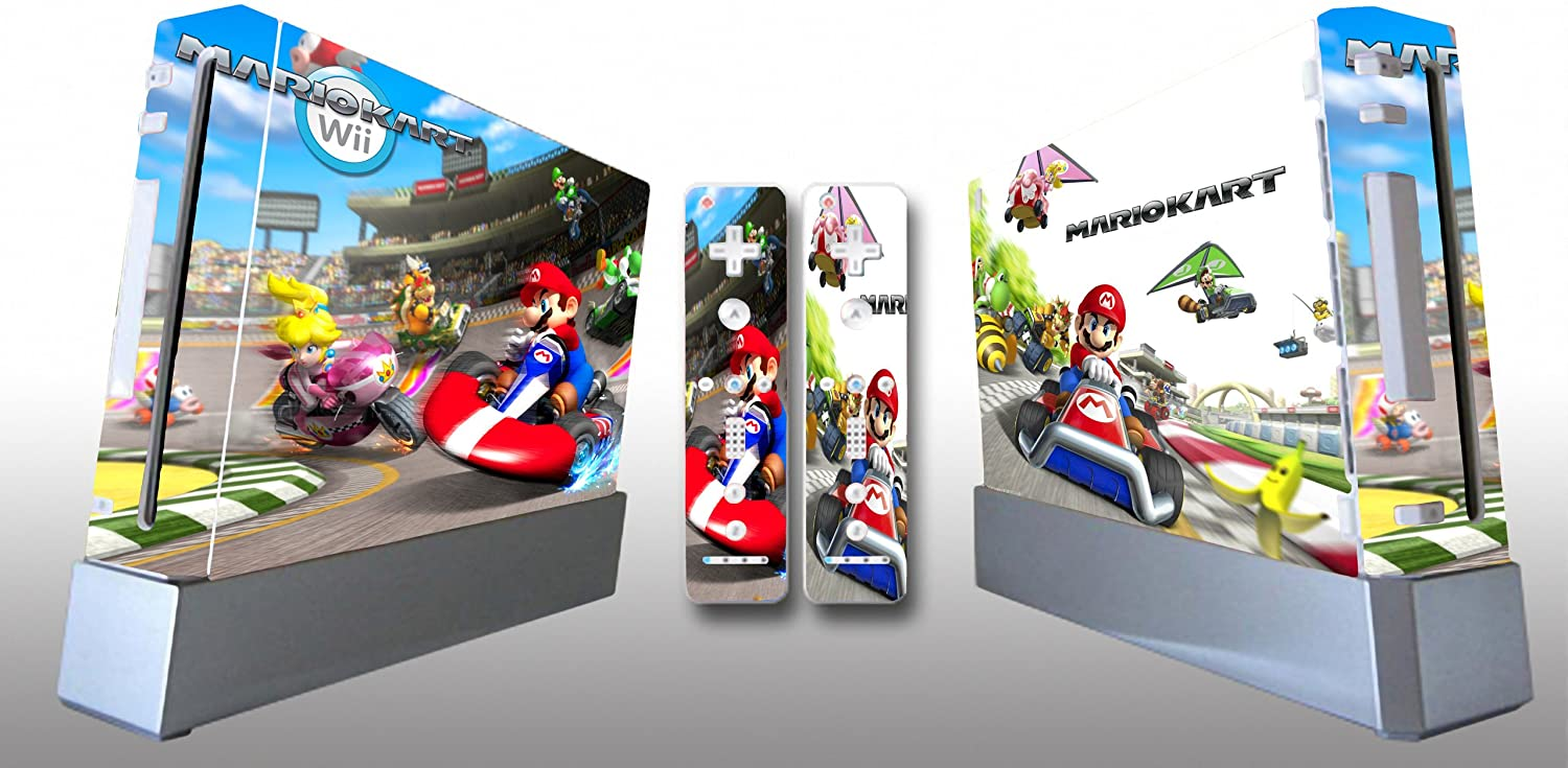 Super Mario Kart Skin Sticker Cover For Nintendo WII Console and 2 Remotes
