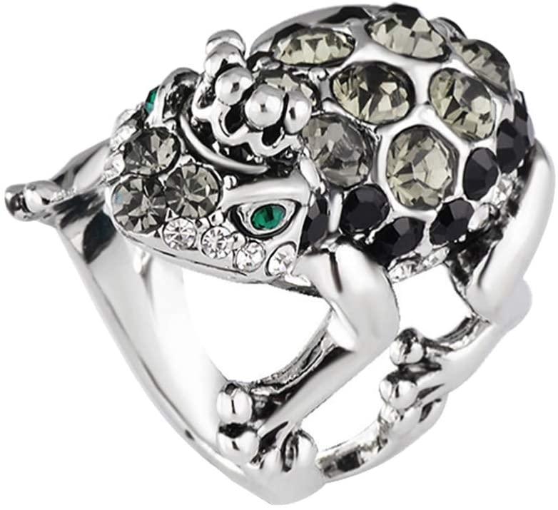Holibanna Crystal Rhinestone Ring Ladies Women Vintage Crown Frog Ring US Size 7