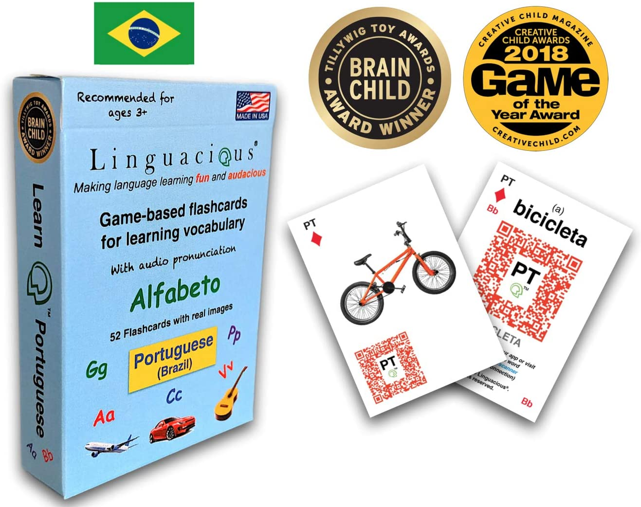 Linguacious Award-Winning Learn Portuguese O Alfabeto Flashcard Game for Kids - with Audio by Native Speaker!