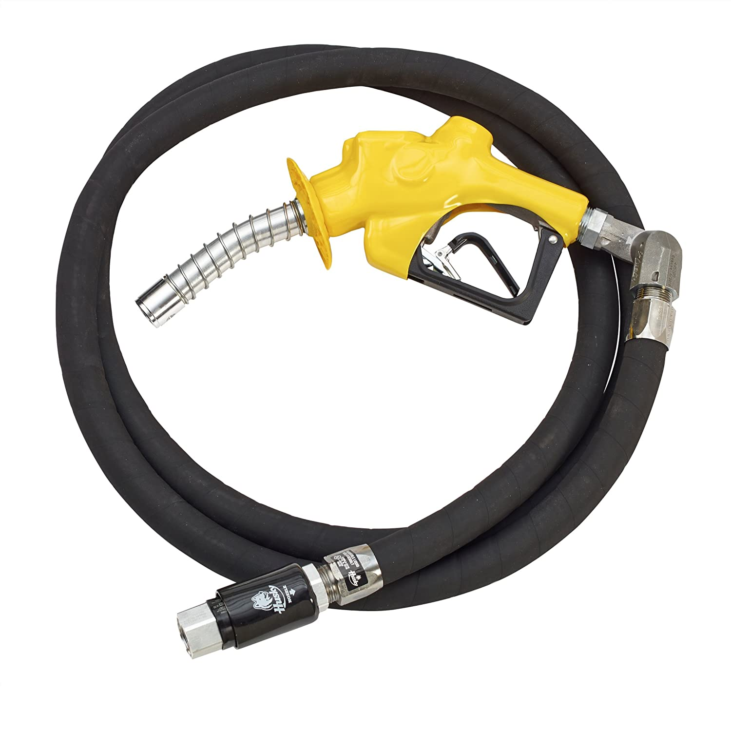 Husky 010481-05 VIIIS Heavy Duty Pressure Activated Diesel Nozzle with Waffle Splash Guard, Yellow