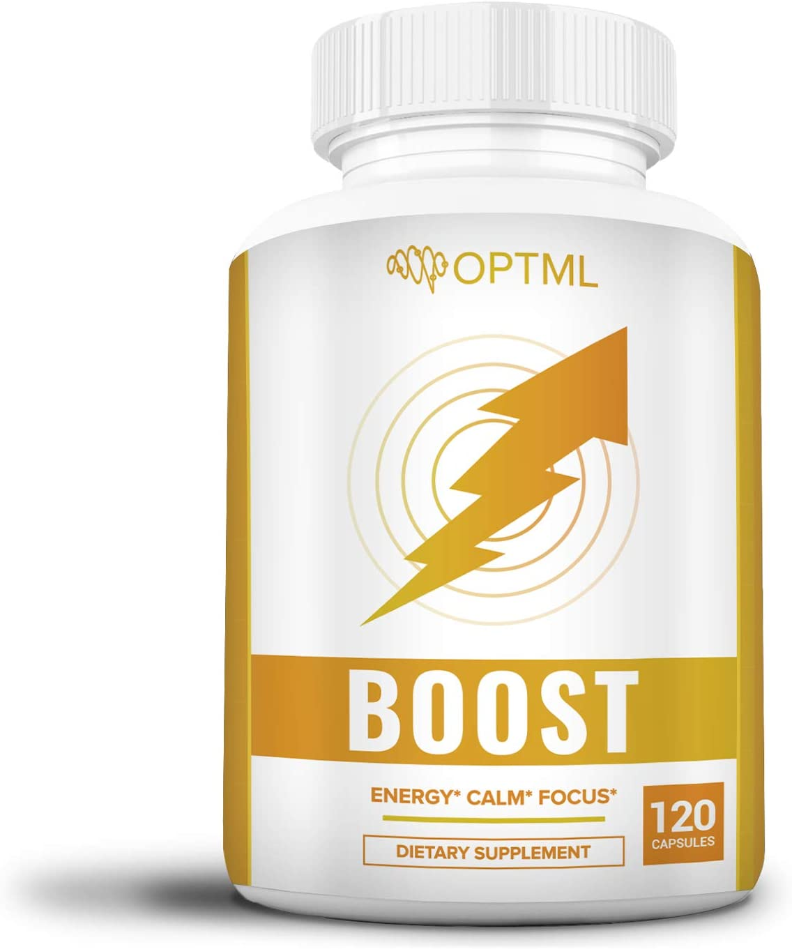OPTML Boost 120 (Capsules), Caffeine + L-Theanine Nootropic Supplement, Energy, Calm, Focus, Enhances Memory, Mood Boost, Clinically Effective Doses, No Crash Or Jitters