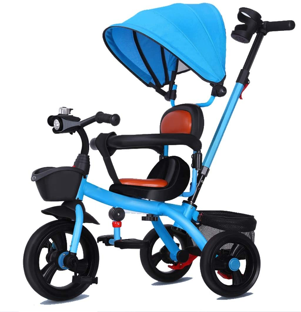 Moolo Tricycle Kids Trike, Pedal 3 Wheel Children Baby Toddler with Push Handle Removable Canopy Reversible Seat (Color : A)