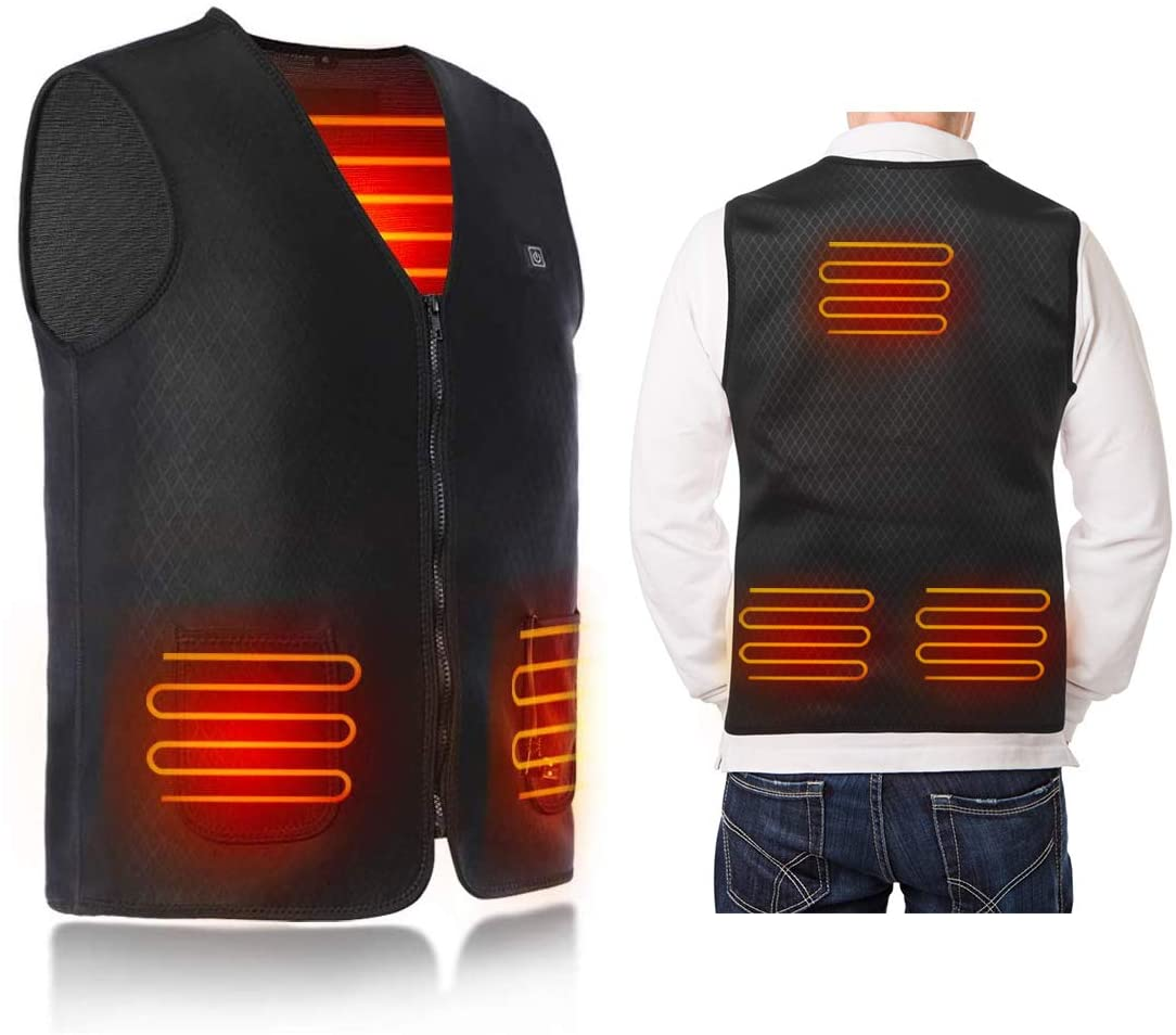 Haofy Electric Heated Vest, Heating Jacket Cold-Proof Heating Clothes Washable for Man & Woman Warmer Heating Pad for Outdoor Motor Fishing Hiking Hunting Camping (No Battery)