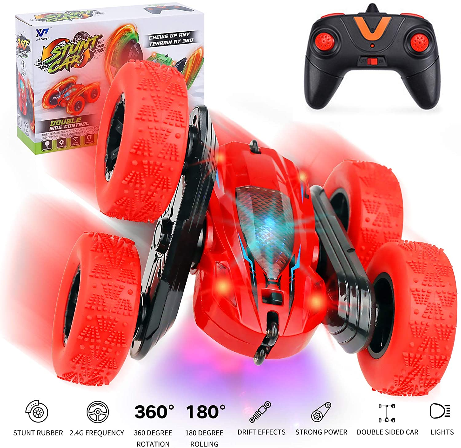 TANOKAY RC Stunt Car, Remote Control Racing Car 4WD Double Sided 360° Rotating Spins and Flips with Multicolored LED Lights Driving Cars Toys Gifts for Kids, Boys, Men