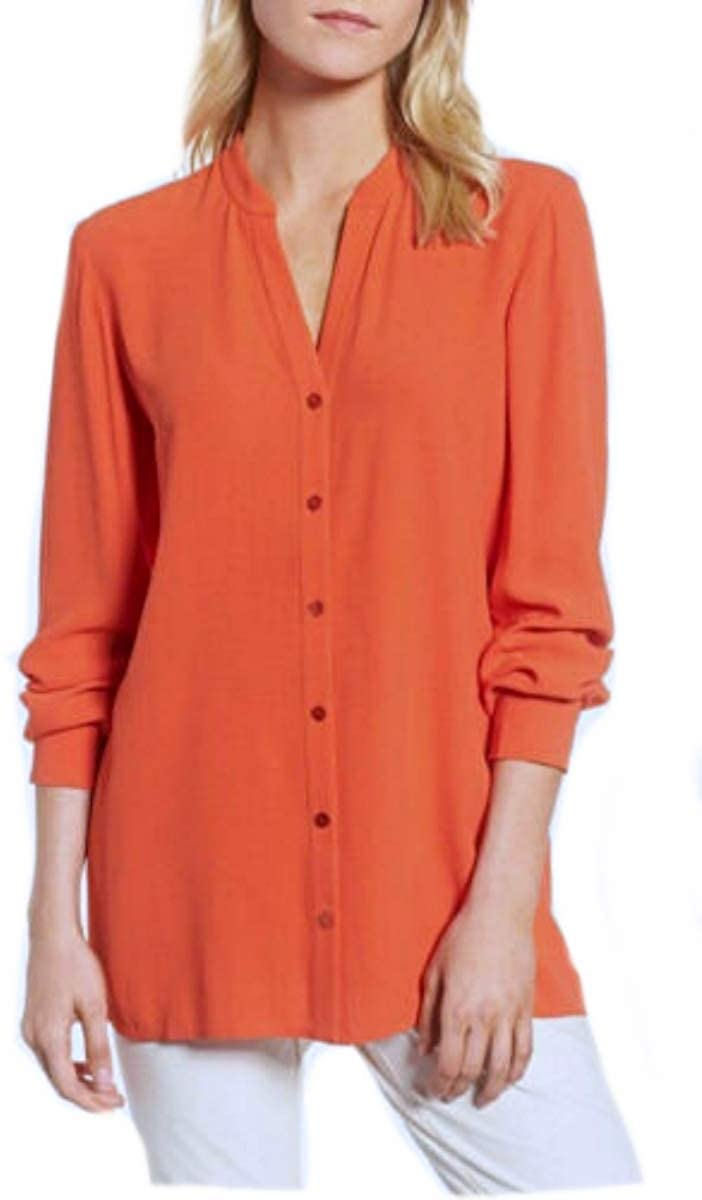 Eileen Fisher Silk Crepe HOT RED Shirt S MSRP $298.00