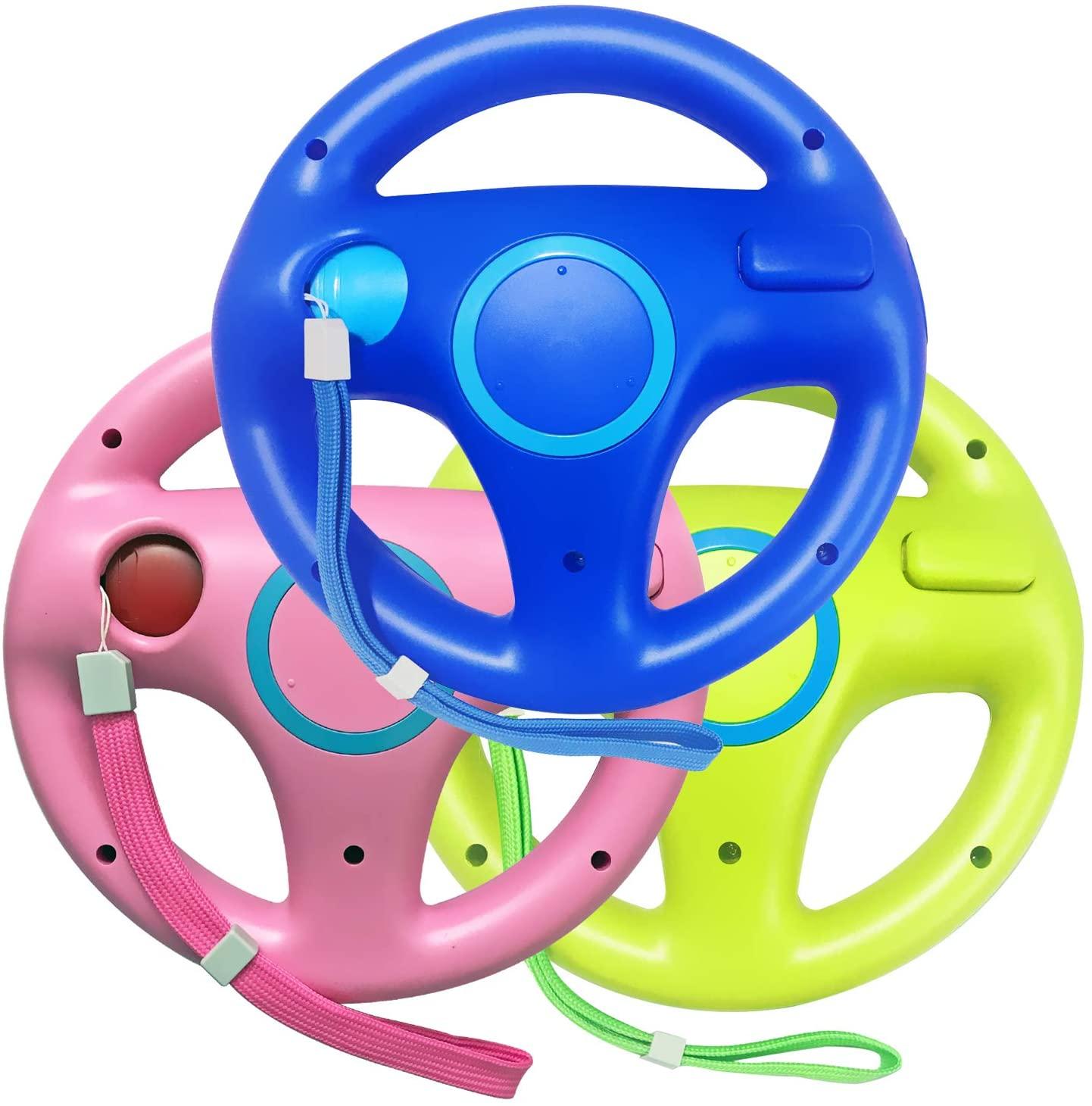 Jadebones 3PCS Blue Pink Green Mario Kart Steering Wheel with Wrist Strap for Wii and Wii U