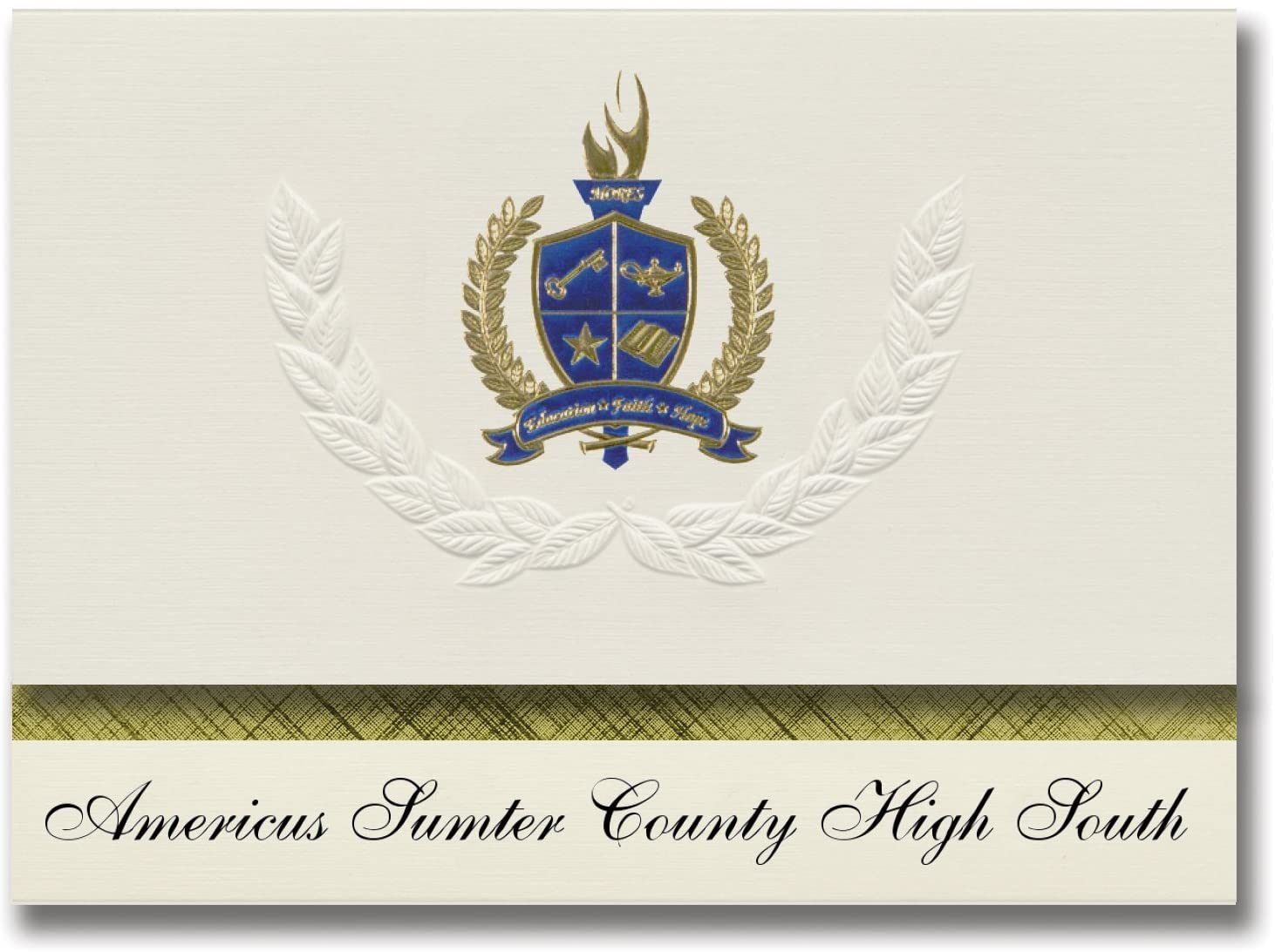 Signature Announcements Americus Sumter County High South (Americus, GA) Graduation Announcements, Presidential Basic Pack 25 with Gold & Blue Metallic Foil seal