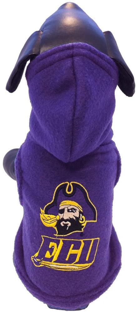 NCAA East Carolina Pirates Polar Fleece Hooded Dog Jacket, X-Large