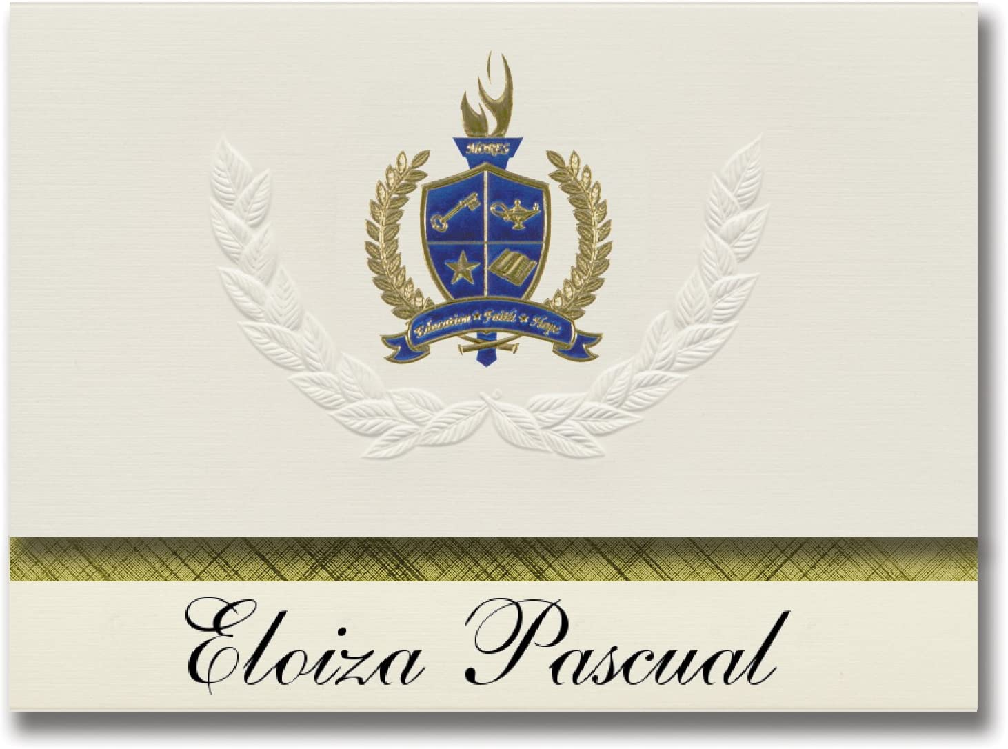 Signature Announcements Eloiza Pascual (Caguas, PR) Graduation Announcements, Presidential style, Elite package of 25 with Gold & Blue Metallic Foil seal