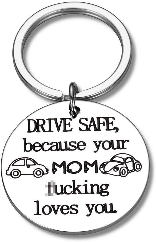 Daughter Son Gifts Drive Safe Keychain from Mom New Driver Birthday Gift from Mother to Stepson Stepdaughter for Christmas Valentine's Day Graduation
