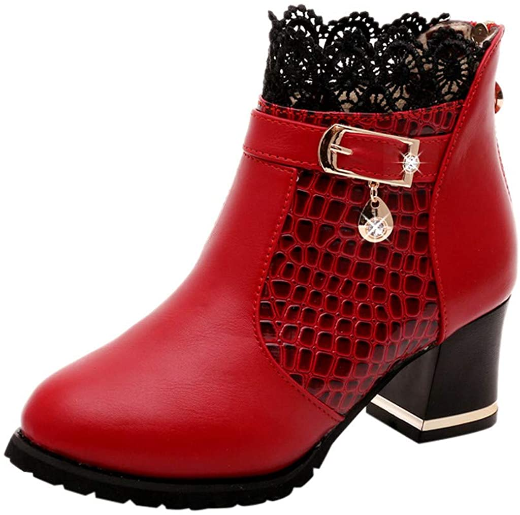 Women Short Boots Leather - Ladies Mid Calf Boots Ankle Boots Lace Vintage Shoes Fall Winter