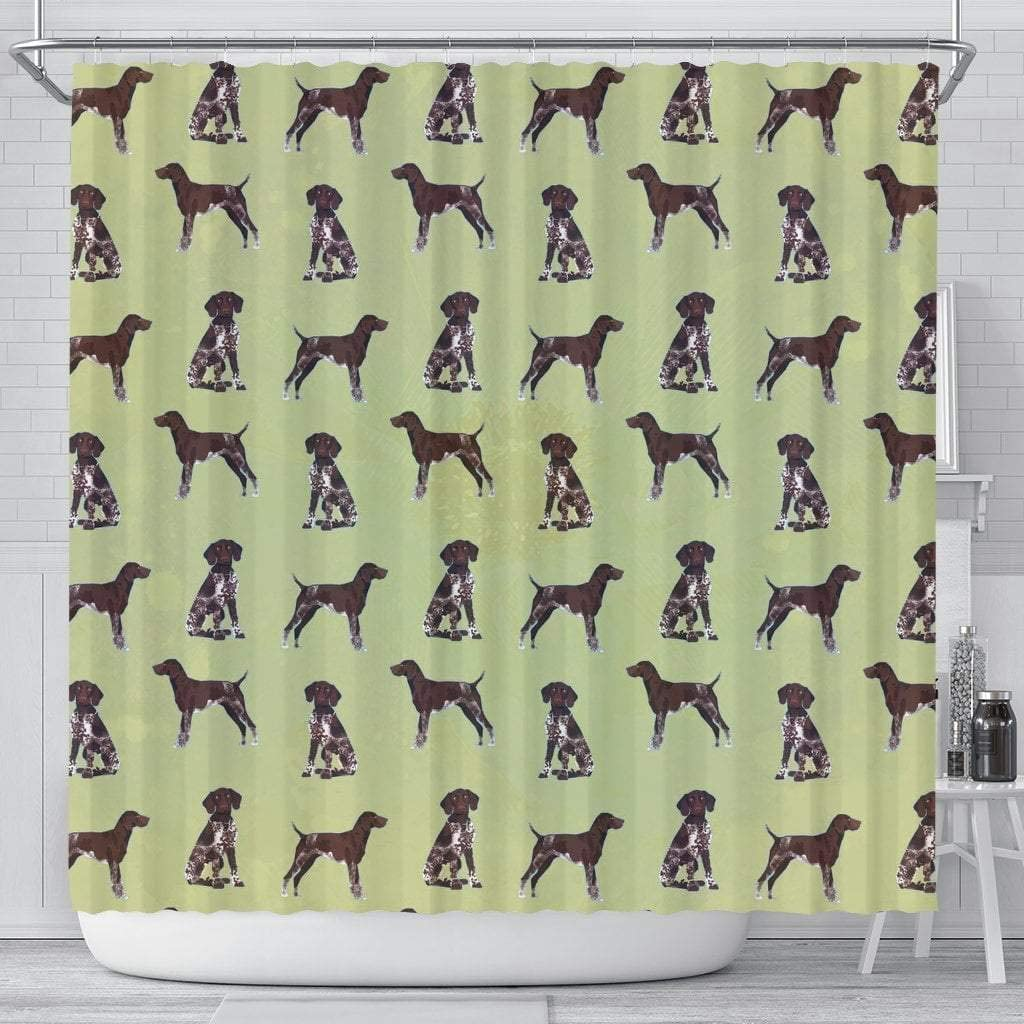 Paws With Attitude German Shorthaired Pointer Dog Pattern Print Shower Curtains
