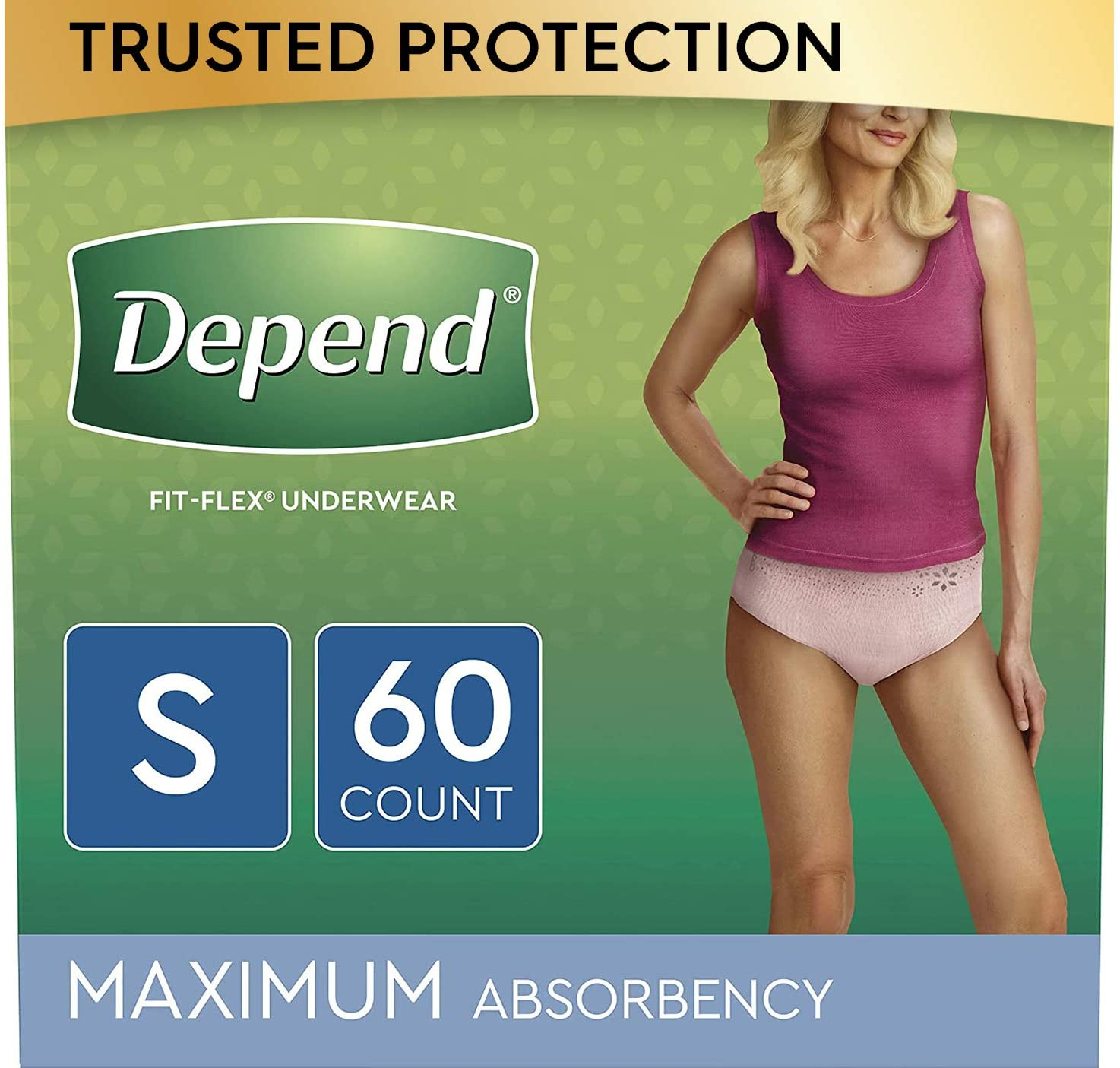 Depend FIT-FLEX Incontinence & Postpartum Underwear for Women, Disposable, Maximum Absorbency, Small, Blush, 60 Count (2 Packs of 30) (Packaging May Vary)