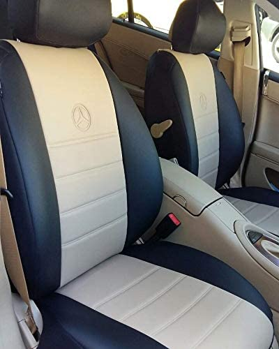 TOP CAR ATHENS | Two Front CAR SEAT Covers | Leatherette | Custom Made, Compatible with Mercedes SLK-Class (R-170) & (R-171) | Beige-Black (Compatible with Mercedes SLK R-171 2005-2011)