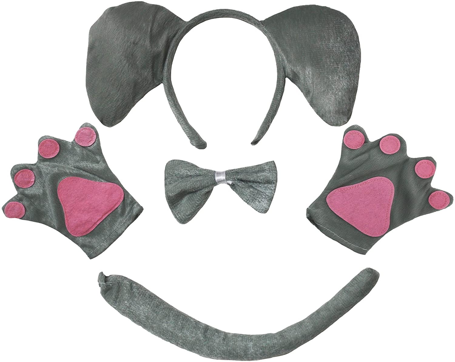 Petitebella Elephant Headband Bowtie Tail Gloves 4pc Children Costume (Grey)