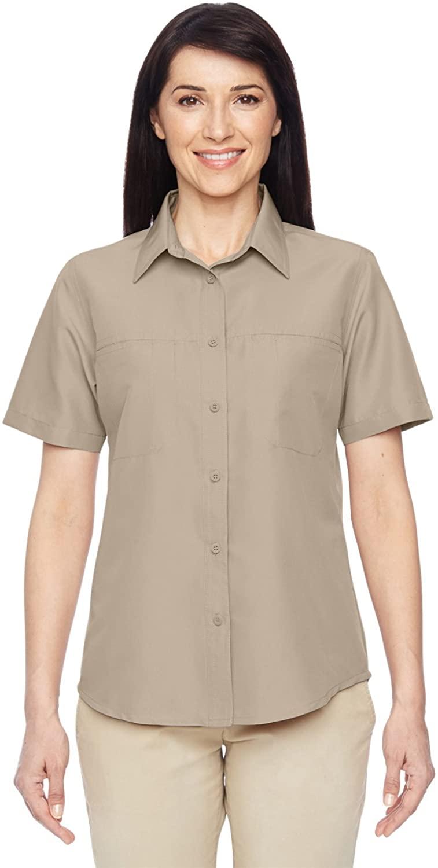 Harriton Ladies' Key West Short-Sleeve Performance Staff Shirt XS KHAKI