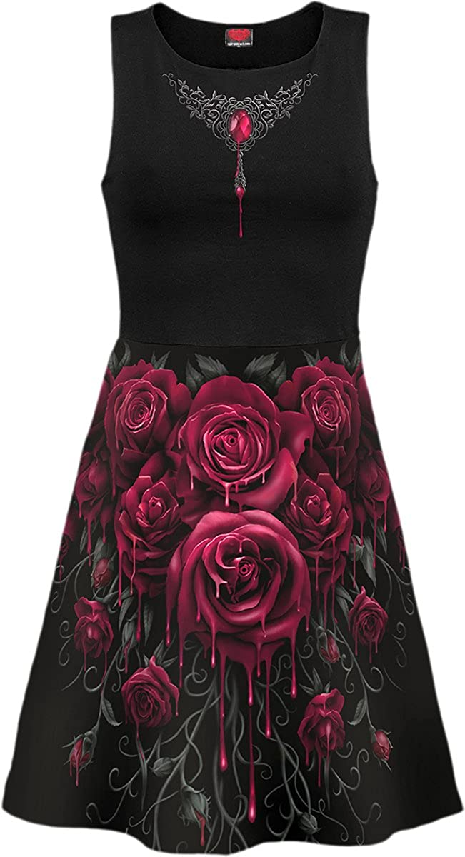 Spiral - Womens - Blood Rose AO - Mesh Layered Midi Skater Dress - M