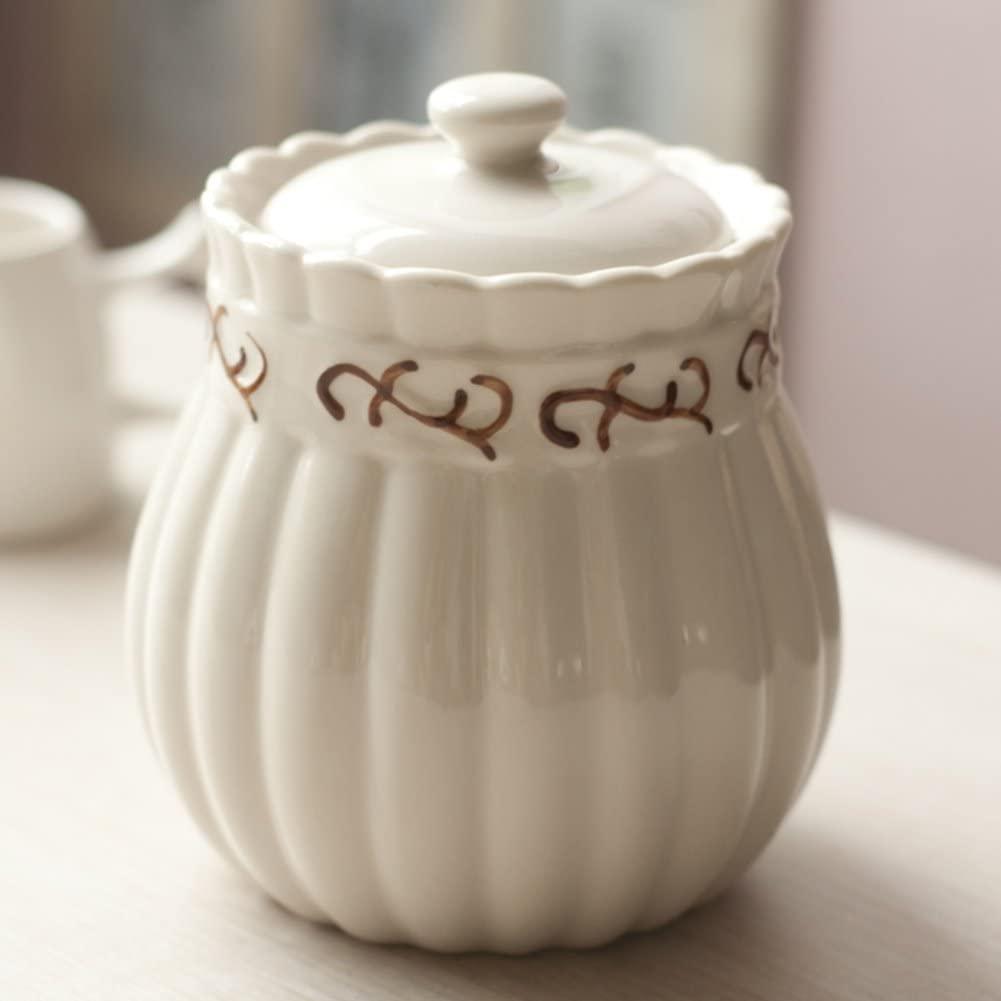 DFFS Creative Spice Jar Ceramic Cruet Airtight European-Style Spice Jars Snack Jar-a