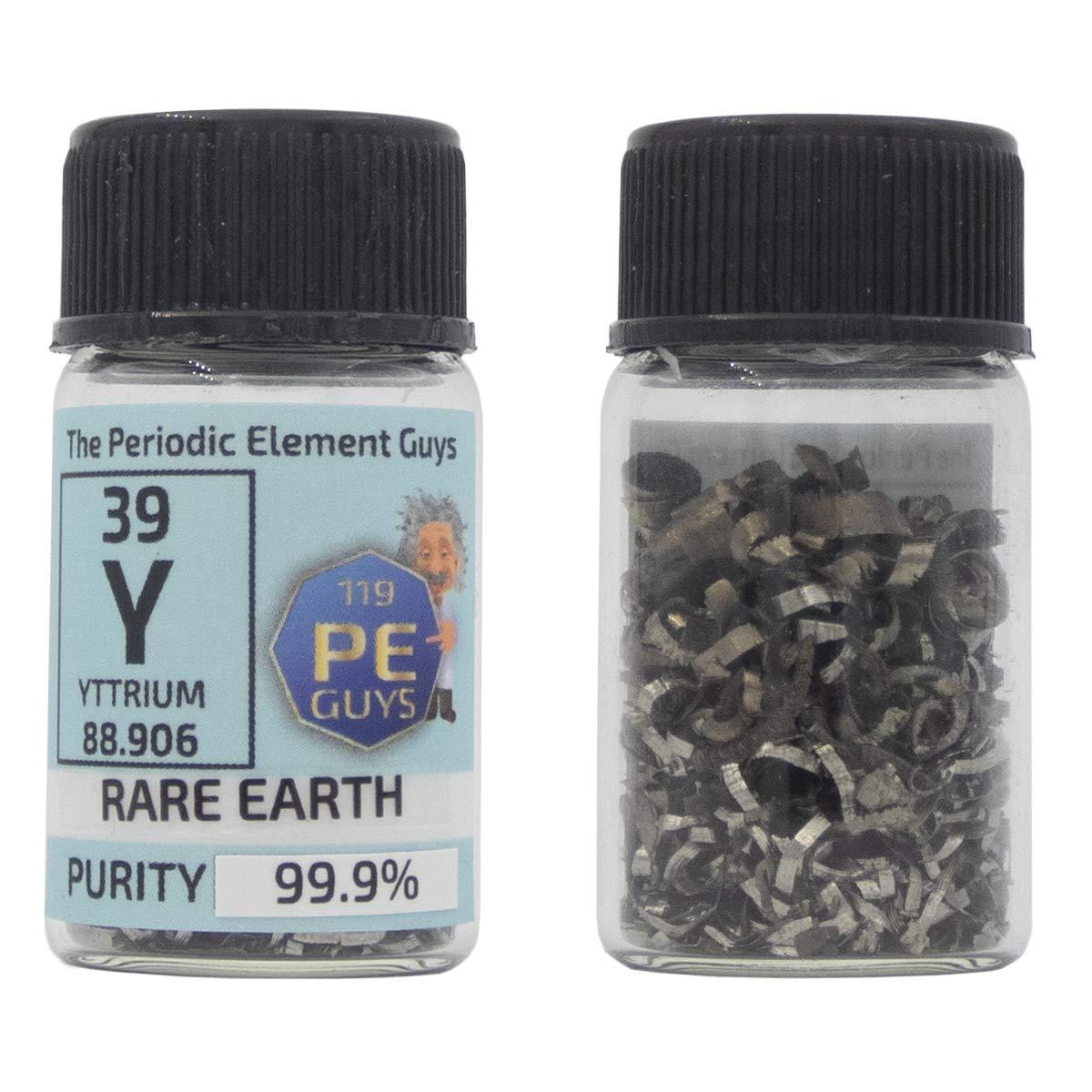 Yttrium Metal Turnings 2g 99.9% Pure Rare Earth Element Sample in PEGUYS Element Bottle
