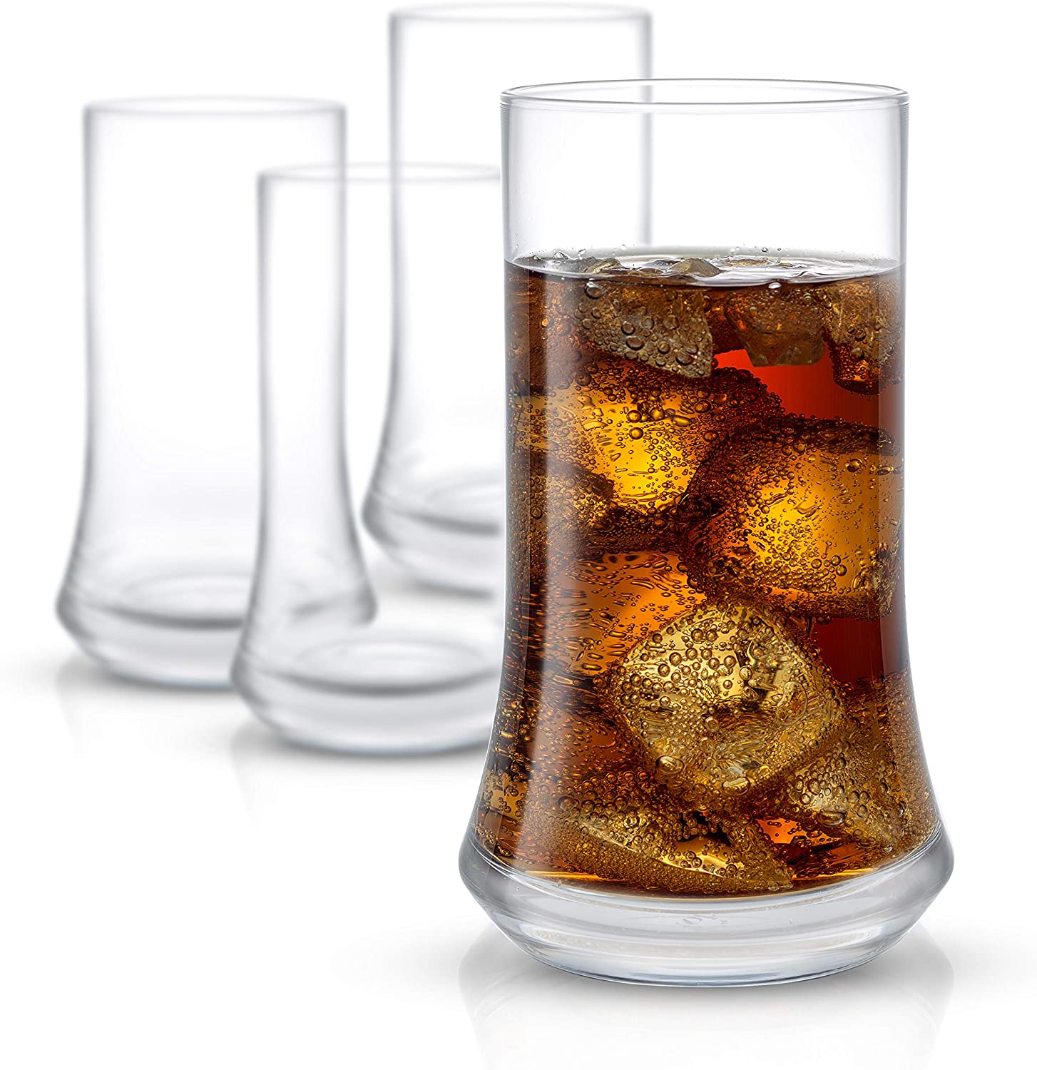 JoyJolt Cosmos Highball Glasses – Pack of 4 Tall Glass – 18.5 oz Large Drinking Glass Set – Non-Lead Crystal Tall Glasses for Water, Juice, Beer and Cocktails – Premium Tall Tumblers for Drinks