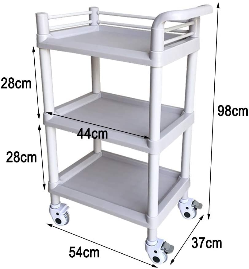LHF Medical Supplies Rack,Hospital Trolley,Medical Cart Tool 3 Tier Abs Medical Cart with Handle & Universal Wheel, Beauty Salon Spa Rolling Trolley for Hair Styling Tattoo, 543798Cm