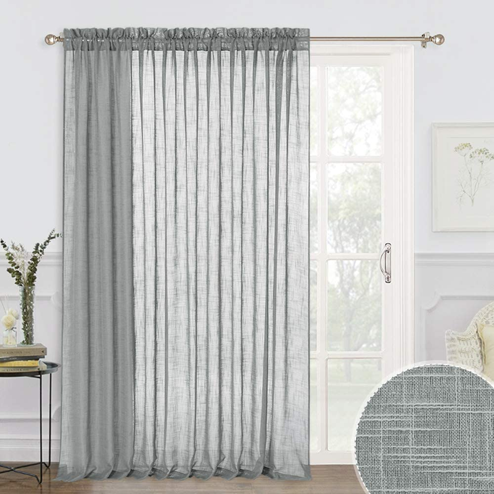 RYB HOME Linen Sheer Curtains 95 inches Long, Privacy Semi Sheer for Kids Room Nursery, Rod Pocket Half Transparent Sheer Window Treatments for Living Room Bedroom, 100 W x 95 L, Deep Grey
