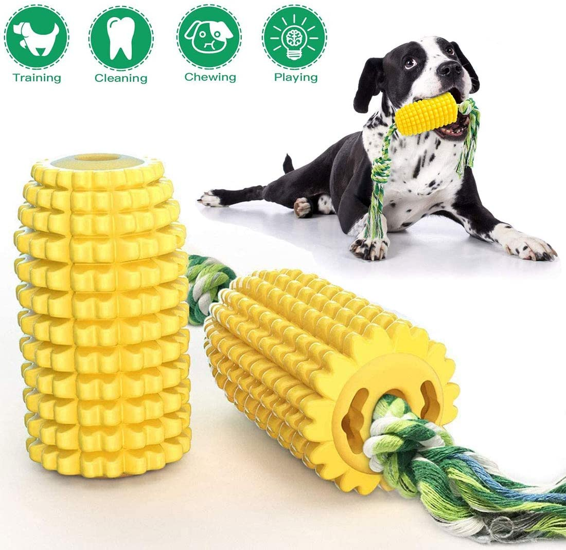 GETIEN Corn Dog Chew Toys Teeth Cleaning Dental Toy Corn-Shaped Dog Rope Toy Tough Interactive Dog Toys for Small Medium Large Dogs