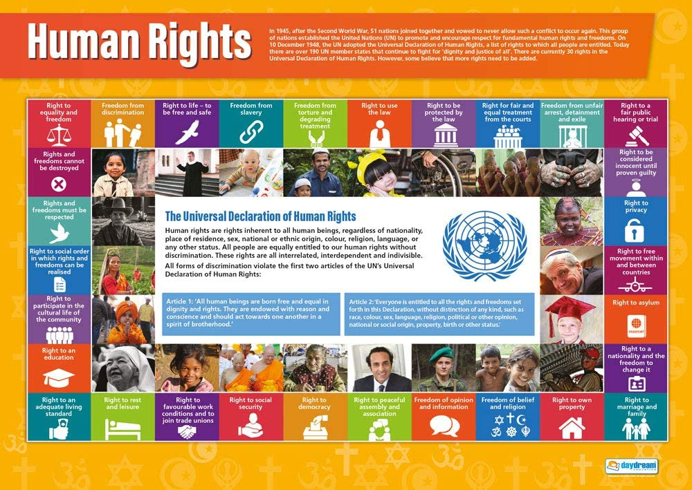 """Human Rights   Religious Education Posters   Laminated Gloss Paper Measuring 33"""" x 23.5""""   Religious Studies Charts for The Classroom   Education Charts by Daydream Education"""