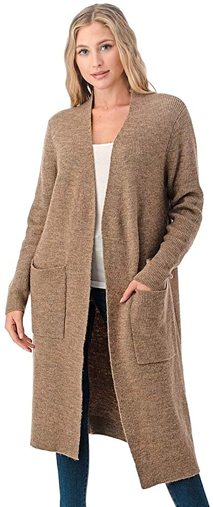 Calison Women's Wool Open Front Long Cardigan Sweater with Pockets Medium Camel