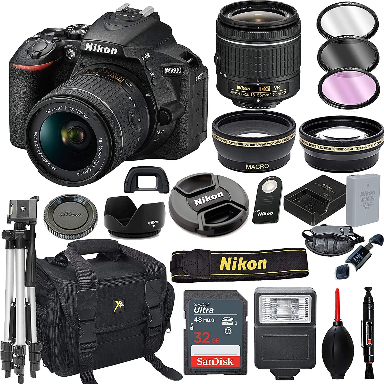 Nikon D5600 DSLR Camera with 18-55mm VR Lens + 32GB Card, Tripod, Flash, and More (20pc Bundle) (Renewed)