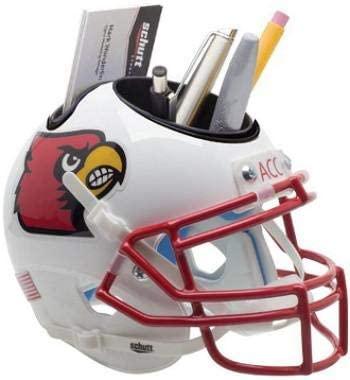 Louisville Cardinals (White no stripe) NCAA Football Schutt Mini Helmet Desk Caddy - College Mini Helmets
