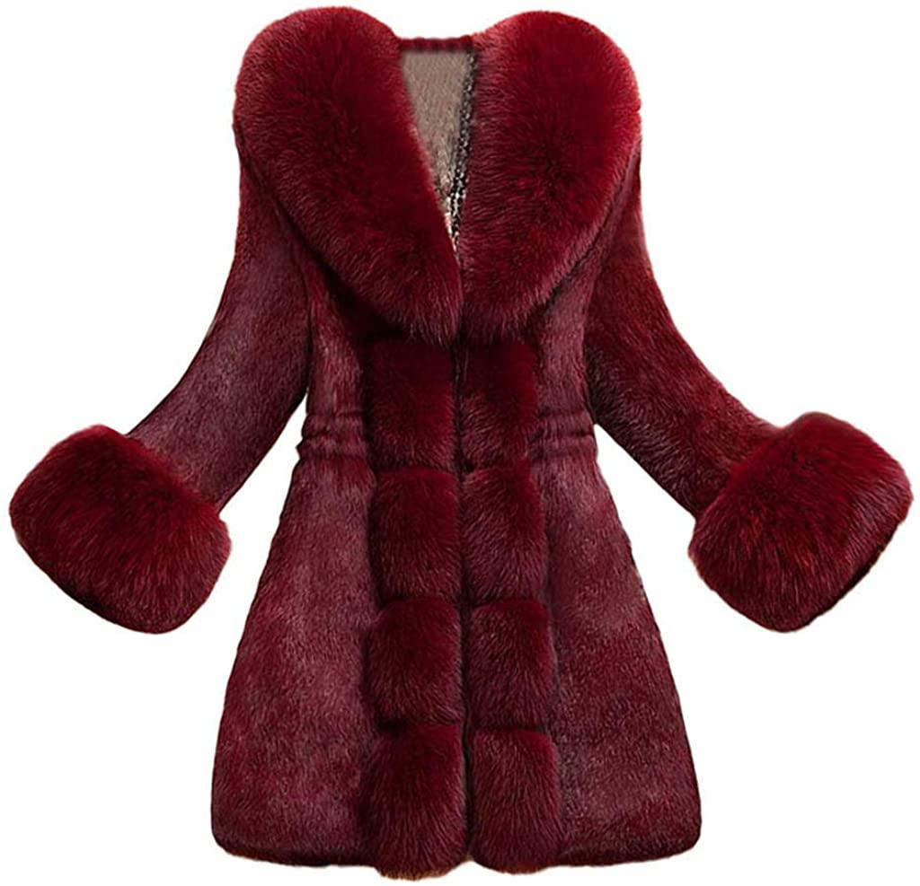 HDGTSA Womens Faux Fur Coat Elegant Thick Warm Fashion Outerwear Long Fake Fur Jacket