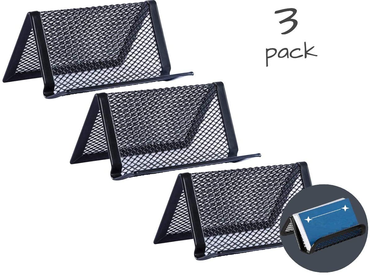 1InTheOffice Mesh Business Card Holder (3 Pack)