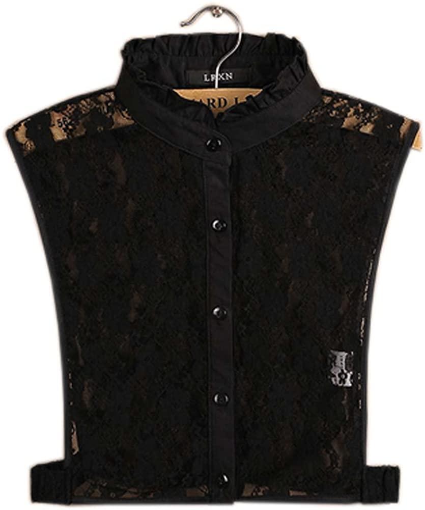 Simple Stylish Detachable Collar Fake Shirt Collar All-Purpose Accessory for Women, L Black