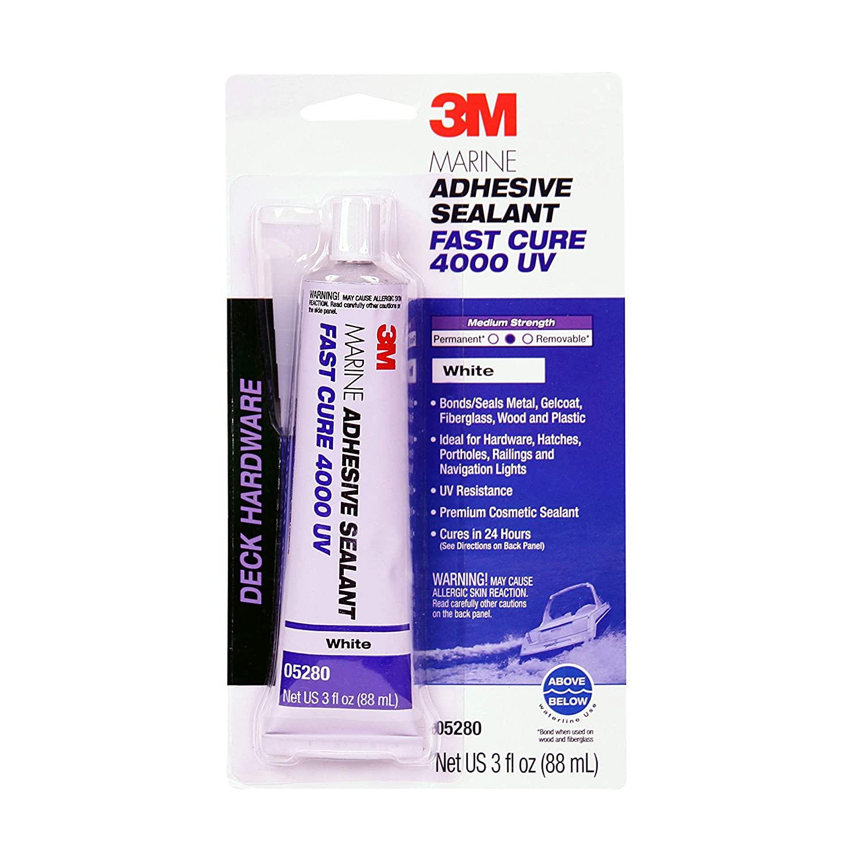 3M Marine Adhesive Sealant 4000 UV, PN05280, White, 3 oz Tube