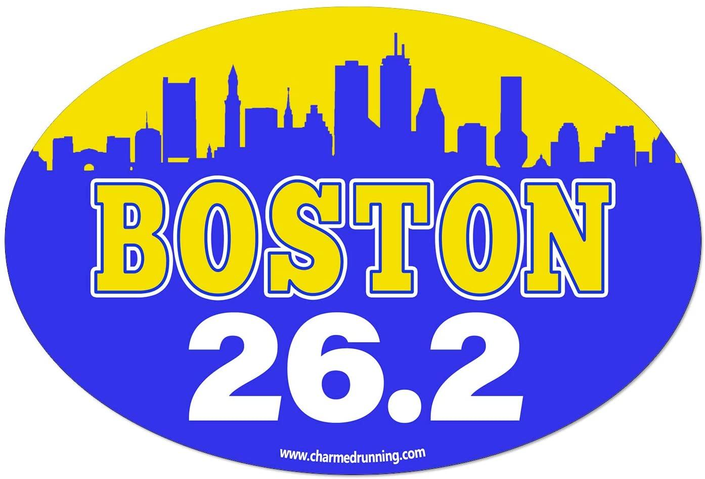 Charmed Running Boston Marathon City Skyline 26.2 Car Magnet
