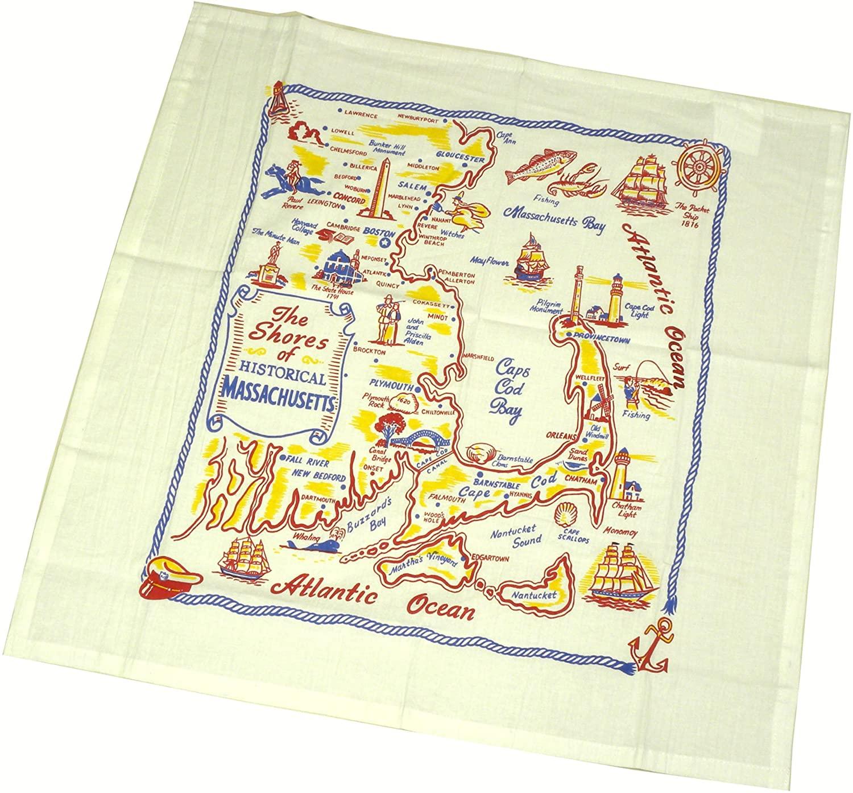The Shores of Massachusetts State Souvenir Dish Towel