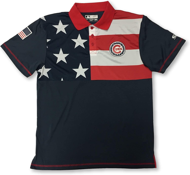 Chicago Cubs Adult Men's 3 Button Patriotic Dri Fit Polo Shirt