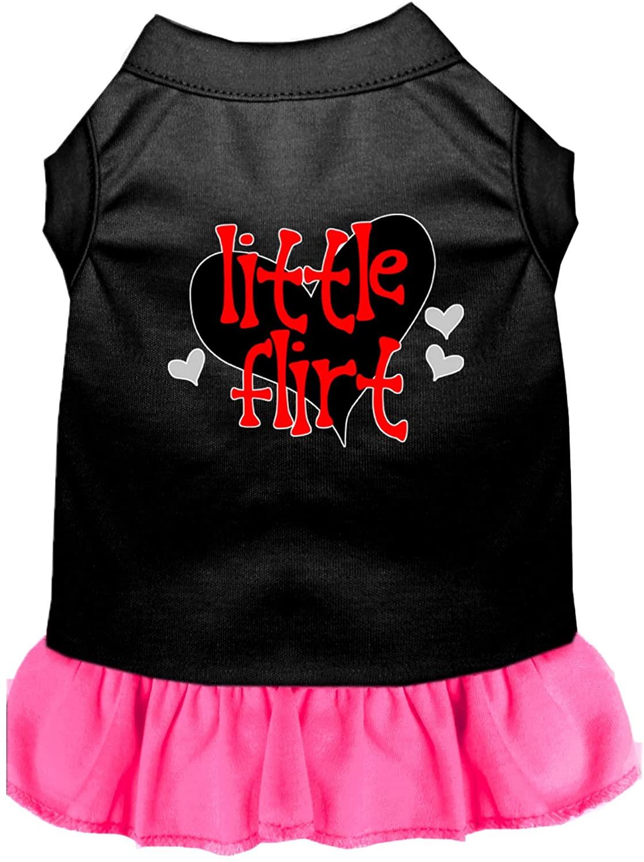 Mirage Pet Product Little Flirt Screen Print Dog Dress Black with Bright Pink XXXL