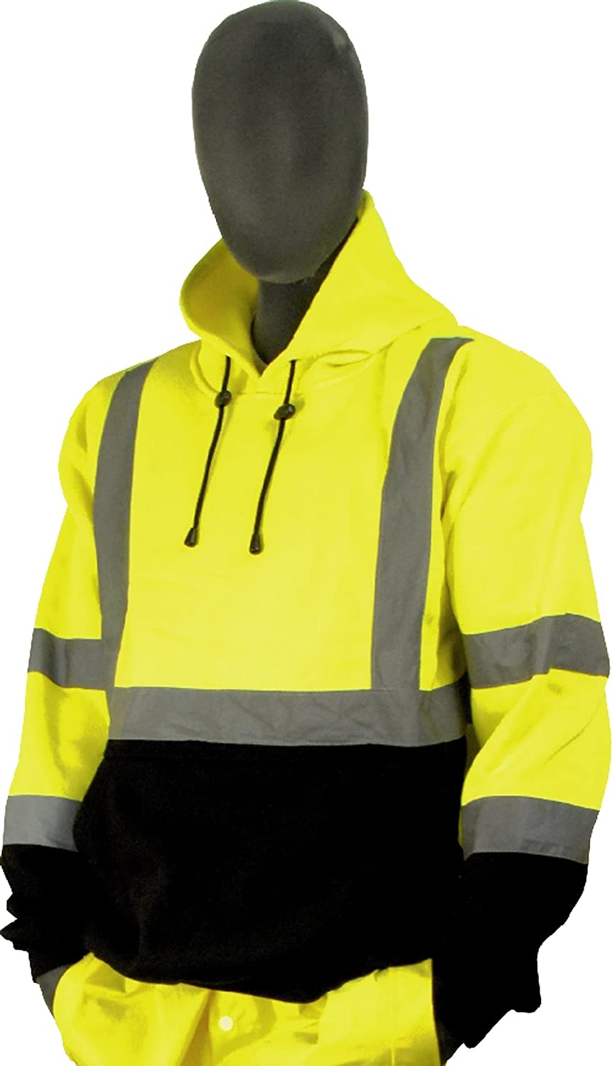 Majestic ANSI Class 3 High Visibility Yellow Pullover Hooded Sweatshirt Black Bottom 2X-Large