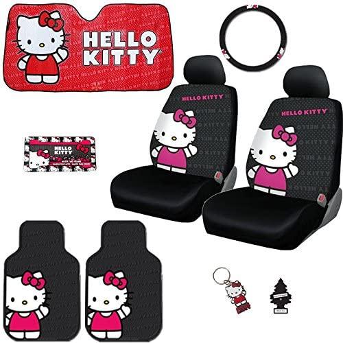 Yupbizauto New 9PC Hello Kitty Core Auto Car Truck SUV Accessories Interior Combo Kit Bundle Gift Set