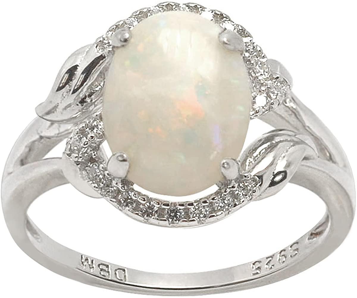 De Buman 1.4ctw Genuine Opal 925 Silver Ring